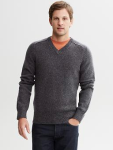 Marled Wool V-Neck Sweater