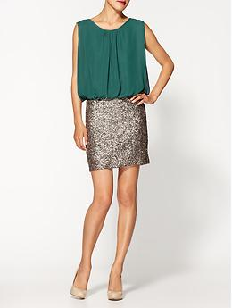 Green Sequin Skirt Dress - Jade/gold