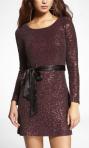 Long Sleeve Sequin Embellished Dress
