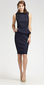 David Meister Pleated Peplum Dress