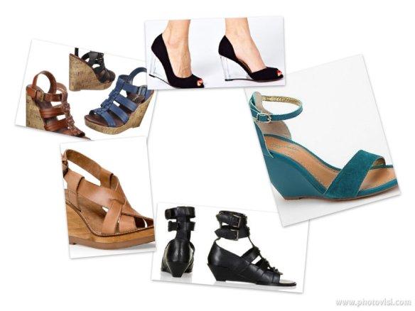 From top left, clockwise: Waylon Harachi Cork Wedge Sandal, Piccolo Wedges, Seychelles Thyme Wedge Sandals, Fleure Gladiator Sandals, Wood Wedge Sandals