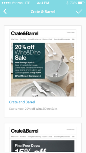 Brwose a specific store - Example of Crate & Barrel